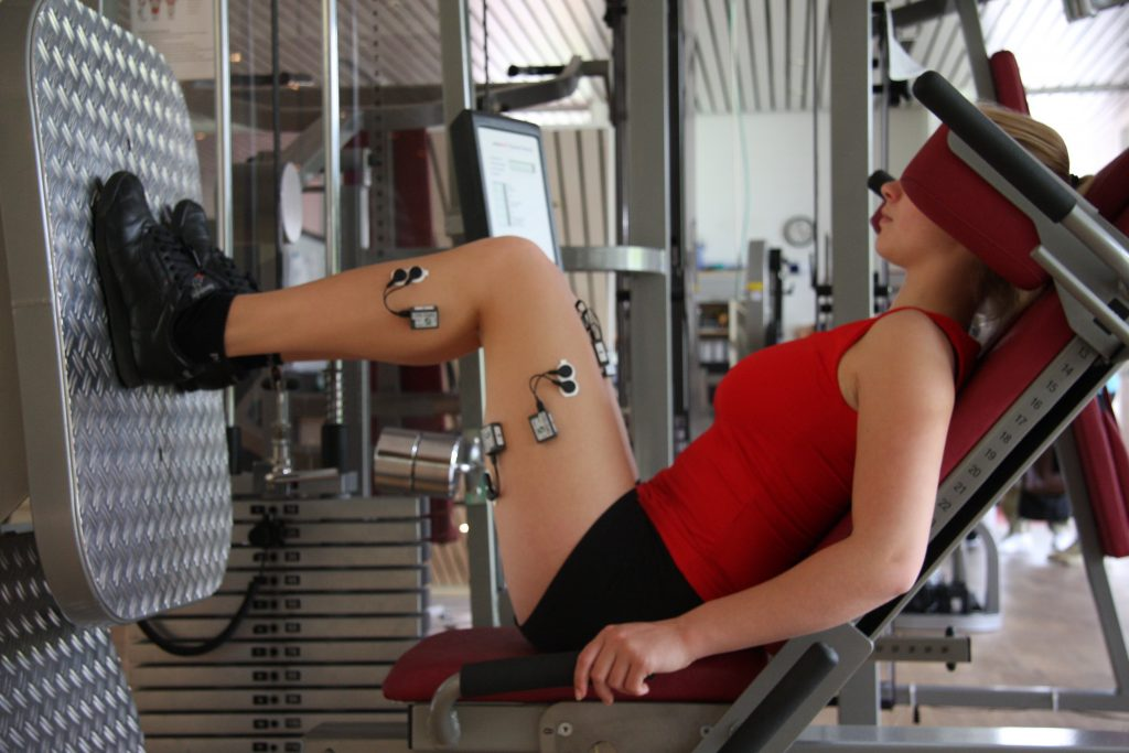 Woman wearing EMG probes