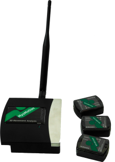 Noraxon Inertialsensor Receiver und drei Sensoren