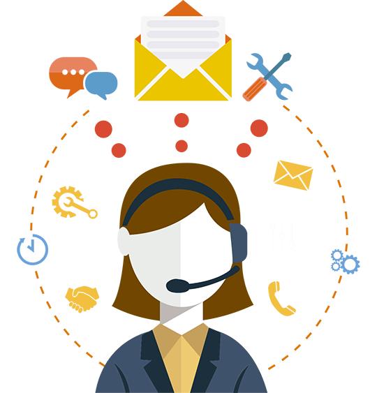 Frau mit Headset und kleinen Symbolen um ihren Kopf