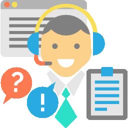 Service Mensch mit Headset, Formularen und Sprechblasen